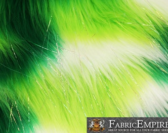 """Faux Fur Fabric Long Pile Rainbow SPARKLING Tinsel Lime Green White/ 60"""" Wide / Sold by the yard"""