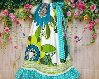 Girls Dress 6/7 Pop Flowers Aqua, Cream Pillowcase Dress, Pillow Case Dress, Sundress, Boutique Dress