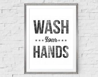 Wash Your Hands Bathroom Print, Bathroom Art, Bathroom Wall Art, Bathroom Decor, Bathroom Wall Decor, Kitchen Wall Decor, Kitchen Art,