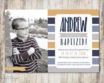 Boy's LDS Baptism Invitation | Male Striped LDS Baptism Announcement | Digital Printable