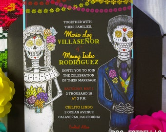 Amor Eterno / Sugar Skull Wedding Couple Papel Picado Invitation or Announcements