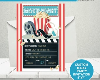 Movie Night Birthday Party Invitation, Movie night party, Movie birthday party invitation, movie birthday theme, Movies and Popcorn party,