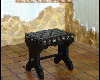 Miniature stool Medieval, Tudor, 1/12 scale dollhouse. Medieval, Tudor, dollhouse furniture. Exclusive design. Unique piece.