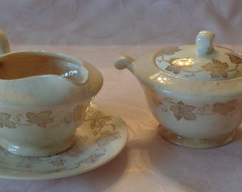 Vintage Edwin M Knowles Ivory China Creamer & Covered Sugar Bowl with Liner Plate