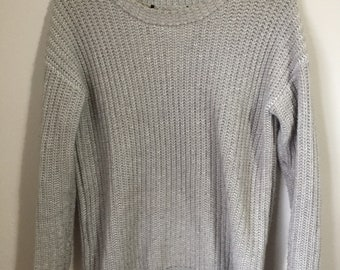 vintage womens thick grey fisherman pullover sweater