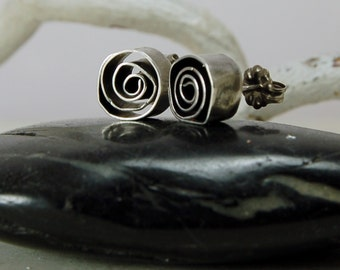 Abstract Roses Sterling Silver Posts Sculptural Silver Earrings Silver Studs