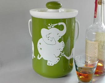 Kromex Elephant Ice Bucket. Cute Pachyderm Family in Green and White. Dancing Elephants.