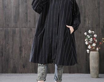 Black linen jacket trench coat autumn jacket linen tunic dress linen coat jacket long dress coat oversize outerwear plus size clothing