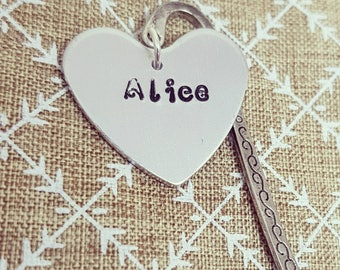 Personalised Bookmark, Name Bookmark, Heart Bookmark, Handmade Bookmark, Handstamped Bookmark, Personalised Birthday Gift, Gifts for Books