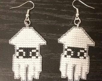 Super Mario Blooper cross stitch dangle earrings