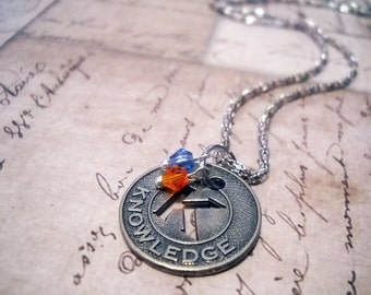 """Word Necklace KNOWLEDGE Inspirational Jewelry with Bicone Crystal Accents 16"""" Filigree Chain Simple Jewelry"""