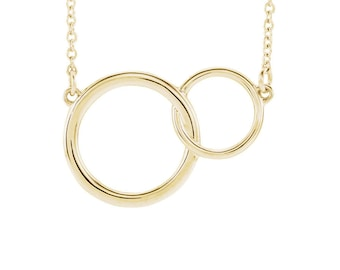 14k Gold Double Link Necklace - 14k, 18k Yellow, Rose, White Gold & Platinum. Linked Circles, Generations, Family Pendant