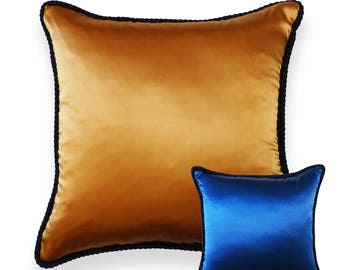 Handmade Solid Reversible Two Colors Tone Silk Decorative Pillow Limit Edition