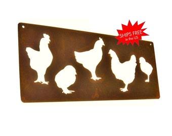 Rustic Metal Chicken Coop Sign, Chicken House Sign, Urban Chicken Stall,  Chicken Sign