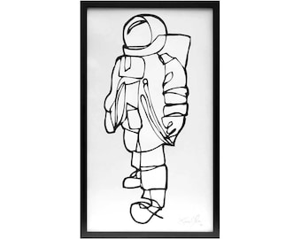 Astronaut wall art, Large spaceman painting, Astronaut framed painting,  monochrome room decor, back and white astronaut painting, moon art