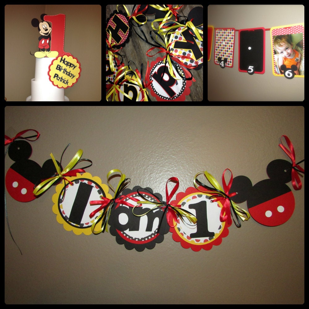 Mickey Mouse themed First year birthday set Birthday banner