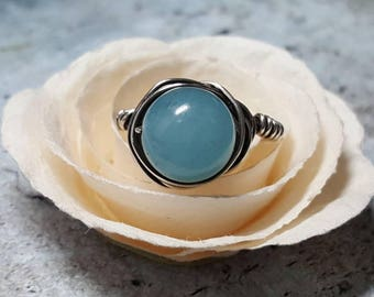 Ring Sterling Blue Quartz wire wrapped #1383