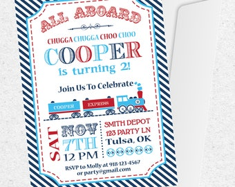Train Birthday Invitation | Train Party Invitation | Train Party Favors | Train Party Decorations | Train Printables | The Party Darling