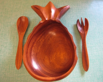 Wood Pineapple Salad Bowl and Utensils Vintage Kitchens and Pineapples Imperfections