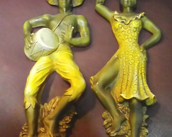 Hanging  Plaques Of Mid Century Dancers  Sold As Is