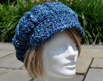 Women's Crocheted Hat - My Signature Newsboy style hat in Boucle Yarn - Winter Accessories - Women's Blue Hat with Brim