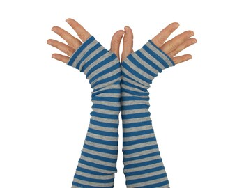 Arm Warmers in Blue and Grey Stripes - Cotton Fingerless Gloves - Sleeves