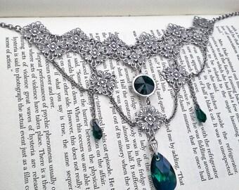 Victorian Gothic Necklace Emerald Green Swarovski Necklace Filigree Crystal Drop Necklace Gothic Jewelry Alternative Wedding Jewelry