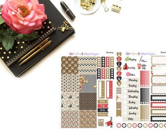 Black Roses Kit// MINI HP Weekly Kit// 2 sheets of planner stickers