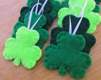 10 shamrock decorations, green clover ornaments, St Patricks Day St Paddys trefoil lucky 3 leaf clover, Irish celtic decor green leaf petal