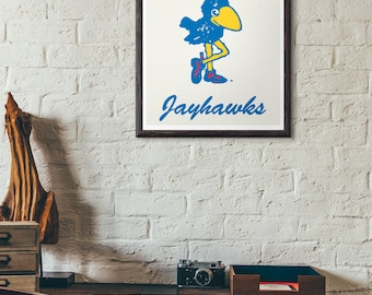 Kansas Jayhawks Original 1912 Jayhawk Print - University of Kansas Jayhawk Retro Poster
