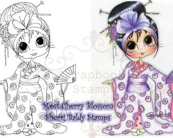 DESCARGA instantánea Digital Digi sellos ojo grande Big Head Dolls Digi Cherry Blossom por Sherri Baldy