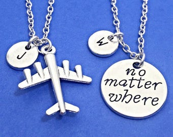 "Set Of 2 Personalized Friendship Necklaces, ""No Matter Where"" Charm Necklace, Distance Friend Gift, Custom, Monogram, 2 Distant friends Gift"