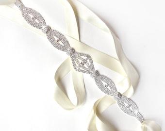 Sash - Statement Rhinestone Wedding Dress Sash - Silver Rhinestone Encrusted Bridal Belt Sash - Crystal Wide Wedding Belt - Art Deco - Long