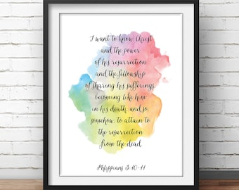 "Philippians 3:10, ""I want to know Christ"", Bible Verse Print, scripture art, christian art, Church Painting, Bible Quotes, Scripture Quotes"