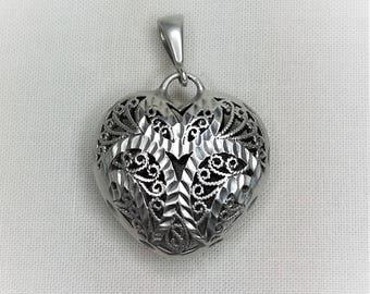 Silver Filigree Puffed Diamond Cut Heart Pendant