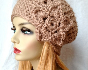Crochet Slouchy Beret, Womens Hat, Taupe, Pick Your Color, Chunky, Soft, Warm, Teens, Birthday Gifts for Her JE368BTF2
