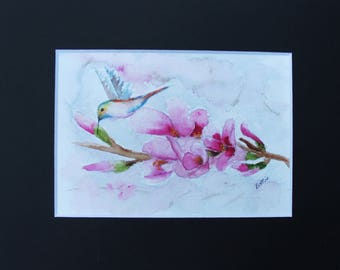 Peach Blossoms and Humming Bird