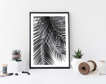 Tropical leaf print - Palm leaf Print - Tropical Decor - monochrome botanical print - leaf print - scandinavian print - tree print