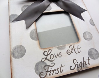 Ultrasound Picture Frame Grey Polka Dot, Grandparent gift,New baby,Personalized Frame,Shower Gift,Baby Keepsake, Nursery Decor