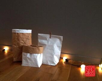 LOT DE 10 - Sac kraft de rangement Paper Bag - Taille S - blanc neutre à customiser