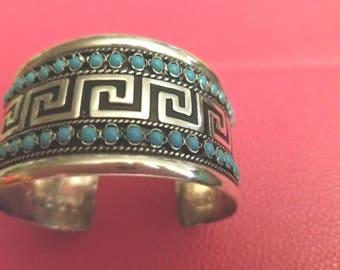 Native American Sterling and turquoise cuff bracelet