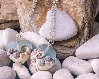 Sea Spray, handmade glass bead, lentil pendant, by Beach Art Glass in the UK