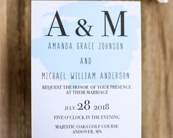 Wedding Invitation Suite, Affordable, Watercolor Invitation
