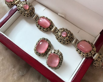vintage bracelet with pink gemstones with matching earrings