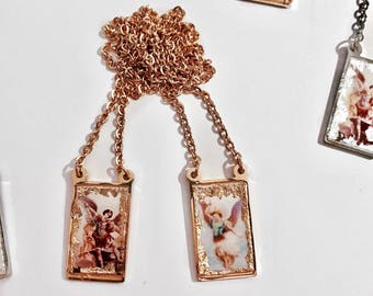 One Meaning's Iconic Love Scapular Necklace - Guardian Angel Michael