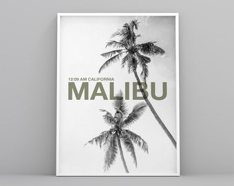 Malibu Printable poster, lifestyle art print, modern, Scandinavian, palm poster, digital file, landscape decoration, black and white poster