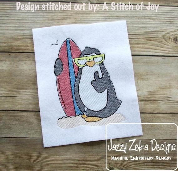 Penguin with surf board Sketch Embroidery Design - penguin Sketch Embroidery Design - surfing Sketch Embroidery Design - beach Sketch