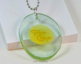 Steph Glass Topo Chico Recycled Water Bottle Pendant Ornament, Fused Glass Necklace, Steph Glass Art Original