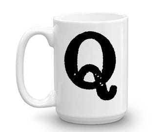 Initial Mug - Letter Q - 15oz Ceramic Cup - Co-Worker Gift Mug - Right-Handed or Left-Handed Mug