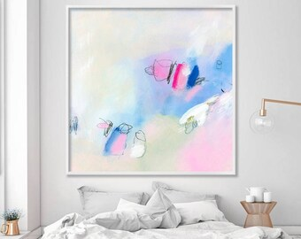 Large Abstract art print, giclée print of abstract painting, modern wall art, pink and blue wall art above bed, Duealberi